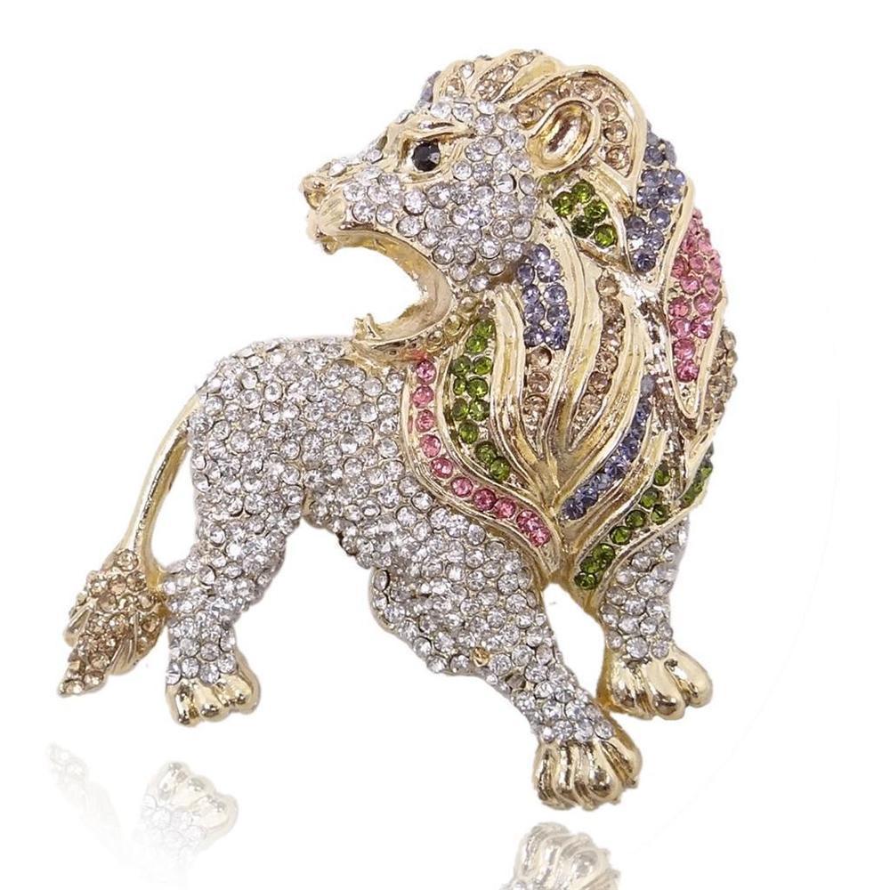 Animal Brooches 2 67 Wildlife Animal Lion Multi Austrian Crystal Brooch