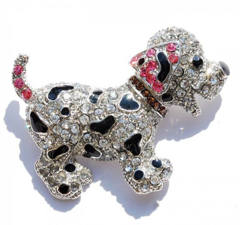 Animal Brooches Animal brooch pins cute black dog silver plated large