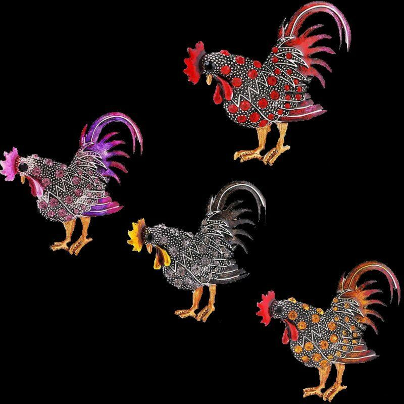Animal Brooches Fashion Retro Rooster Animal Brooch Pins Silver Plated