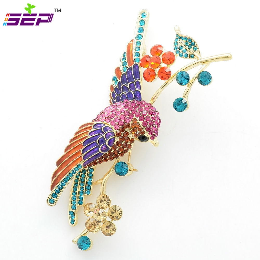 Animal Brooches Rhinestone Crystals Animal Brooches Flower Parrot