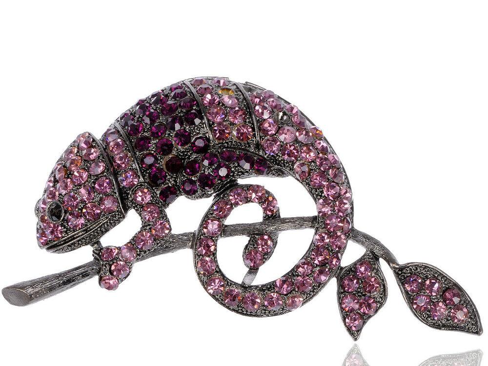 Animal Brooches Vintage Chameleon Animal Brooch Purple Crystal Rhinestone