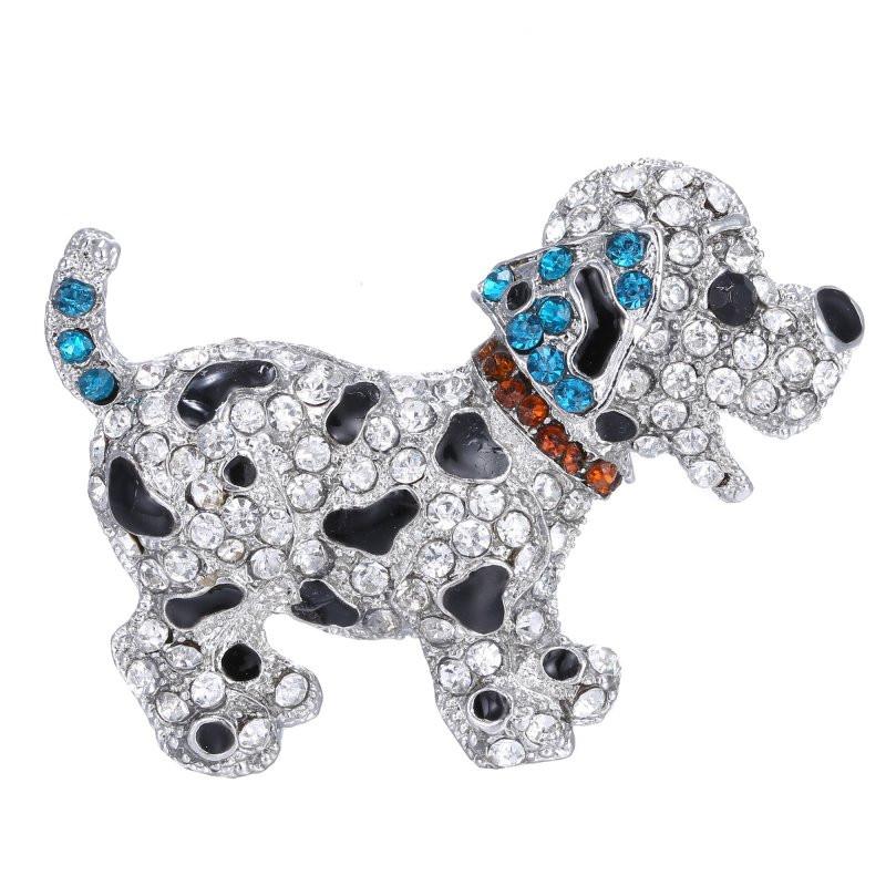 Animal Brooches Animal Brooch Pins Cute Black Dog Silver Plated