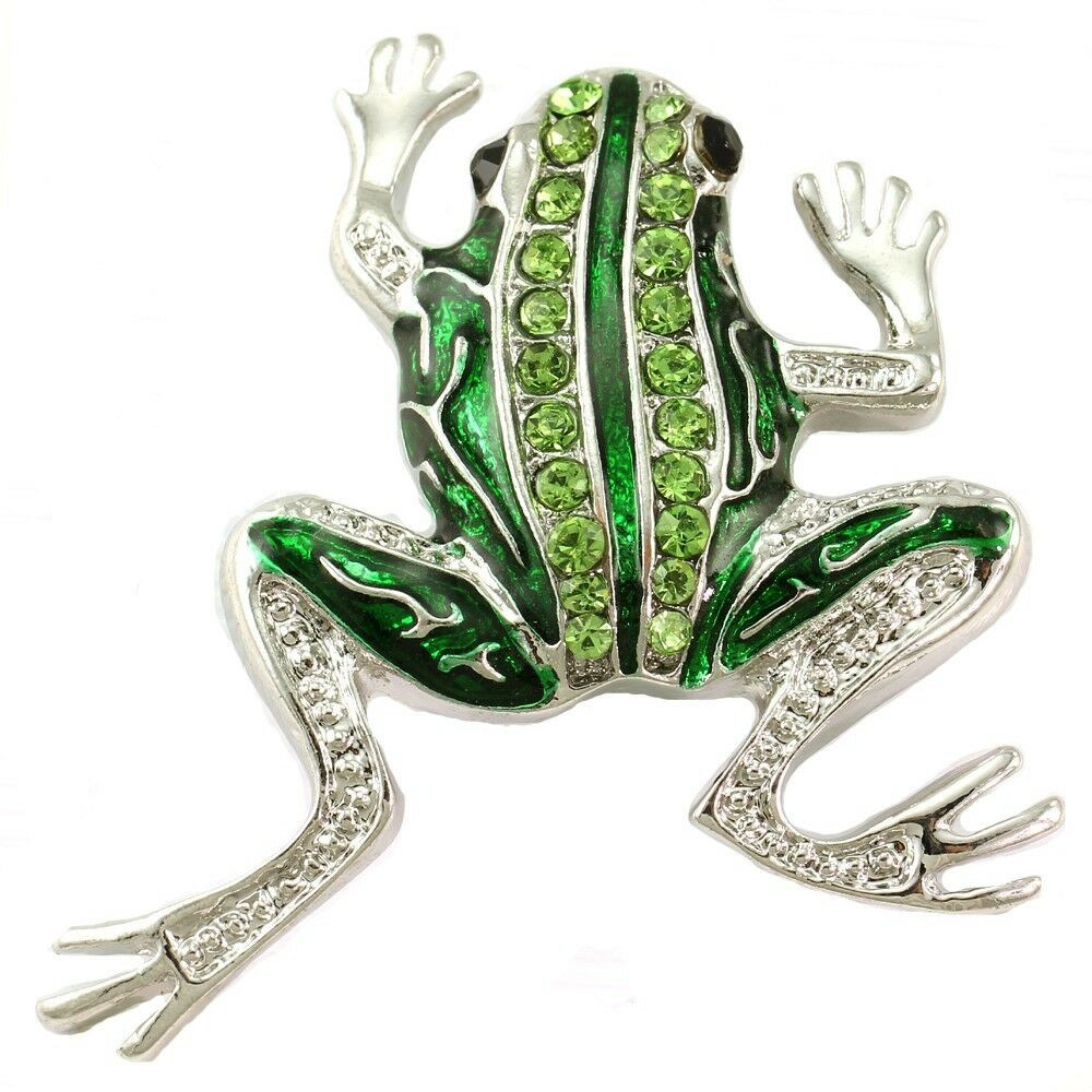 Animal Brooches Green Frog Toad Pin Brooch Light Green Stone Silver Tone