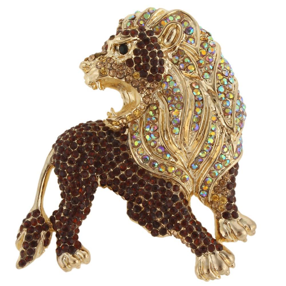 Animal Brooches BELLA Fashion Brown Powerful Lion Rhinestone Brooch Pins