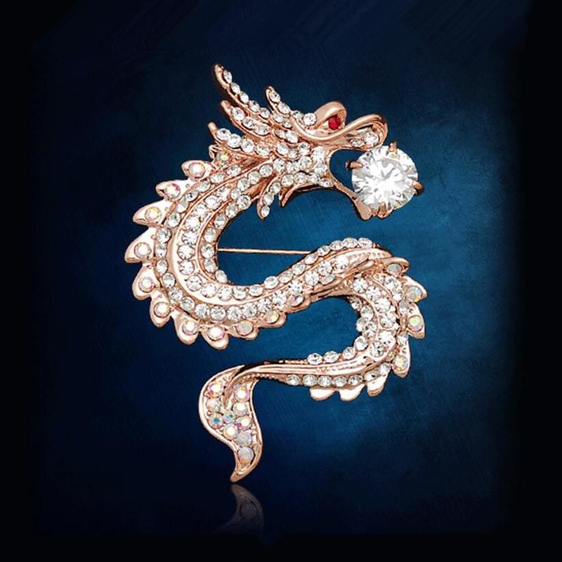 Animal Brooches eckOha Rhinestone China Dragon Brooches Crystal Men s