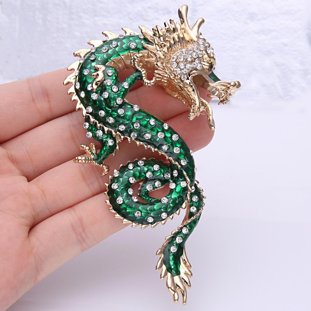 Animal Brooches Bella Fashion Powerful Dragon Animal Brooch Green Enamel