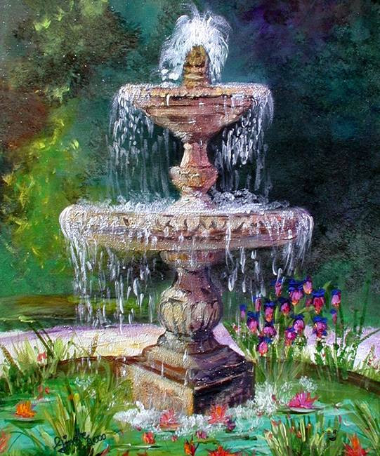 Landscape Fountain Sketch Fountain In French Garden Painting by Ginette by Ginette