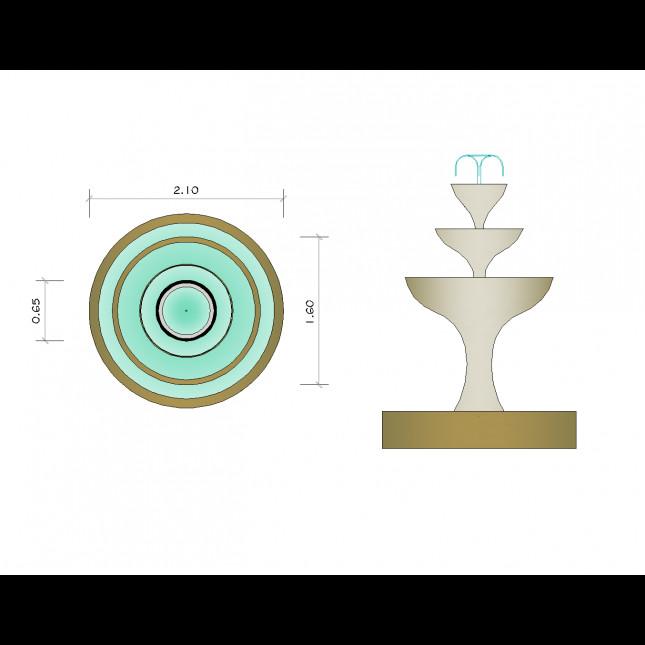Landscape Fountain Sketch Garden water fountaion CAD drawing CADblocksfree CAD