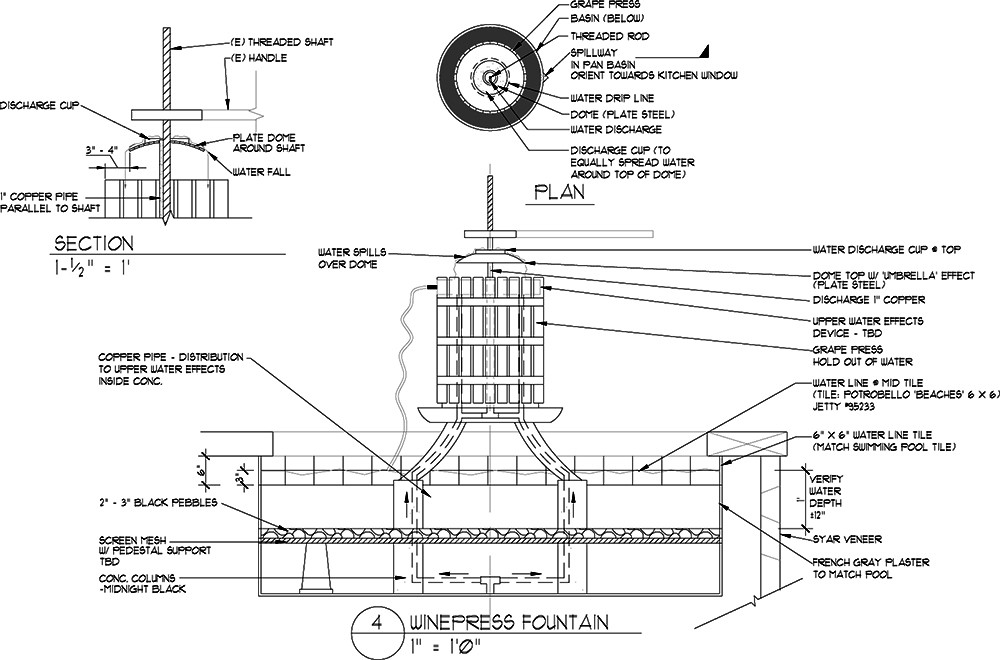 Landscape Fountain Sketch 47 Fountain Section Detail Drawings Drawing Patio