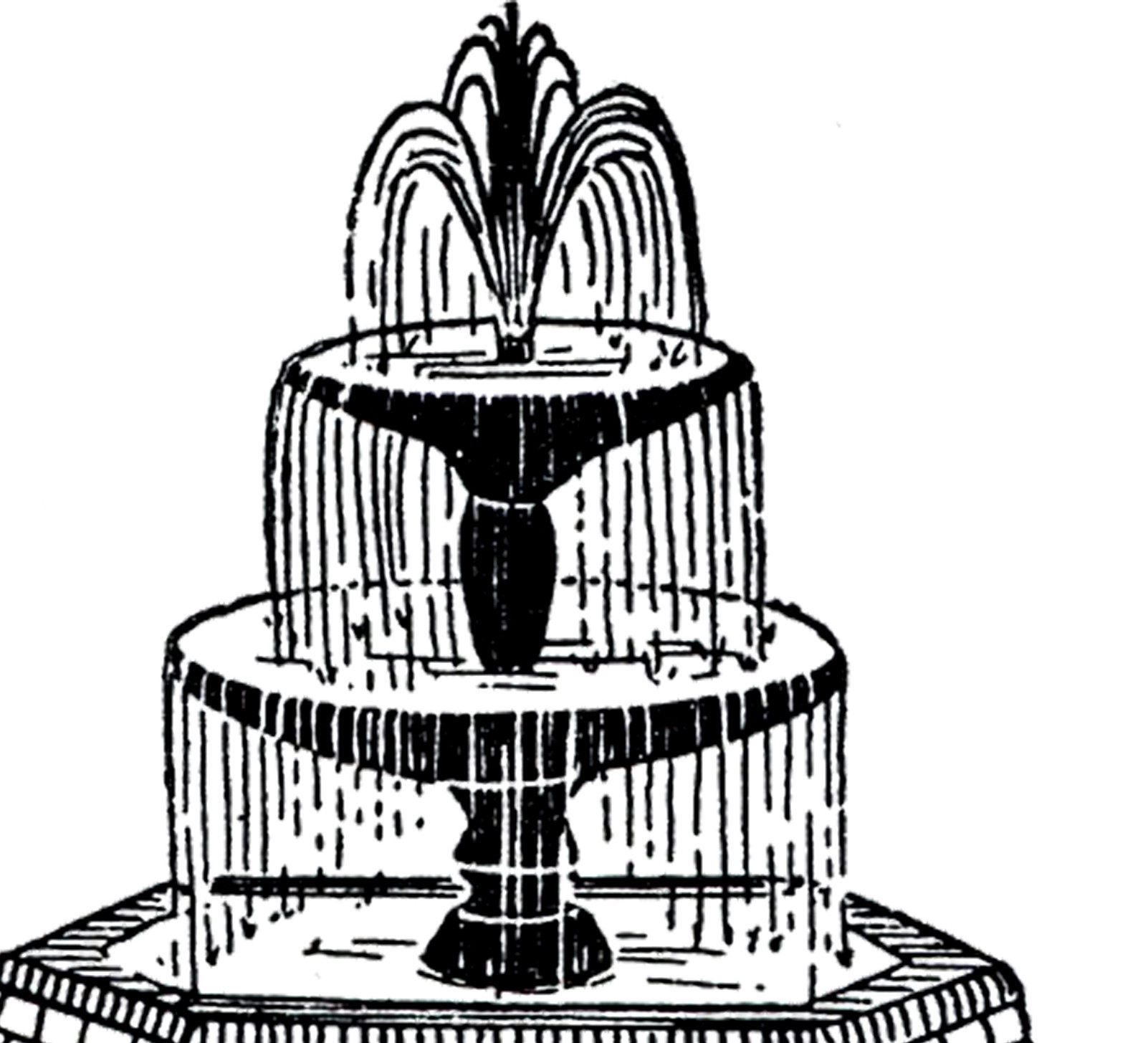 Landscape Fountain Sketch Free Vintage Fountain Clip Art The Graphics Fairy