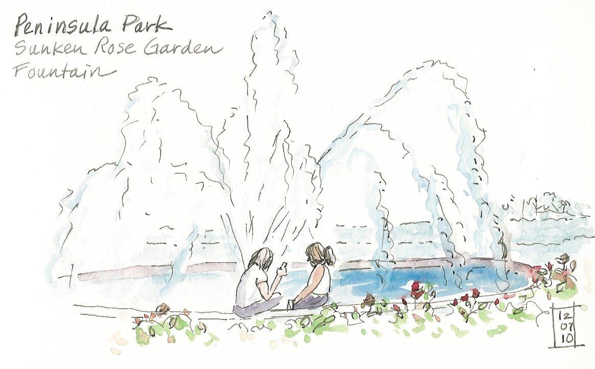 Landscape Fountain Sketch An Evening at Peninsula Park