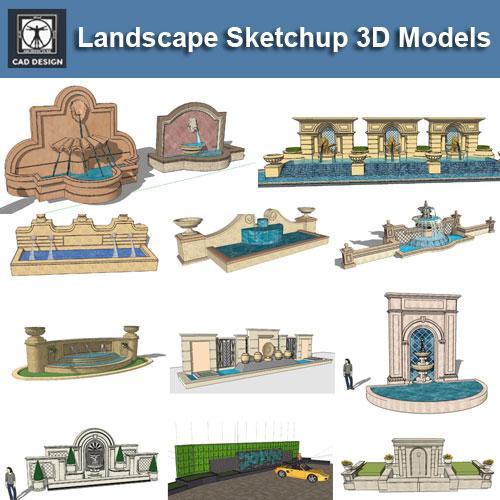 Landscape Fountain Sketch European Fountain & Waterfall Landscape Sketchup 3D Models