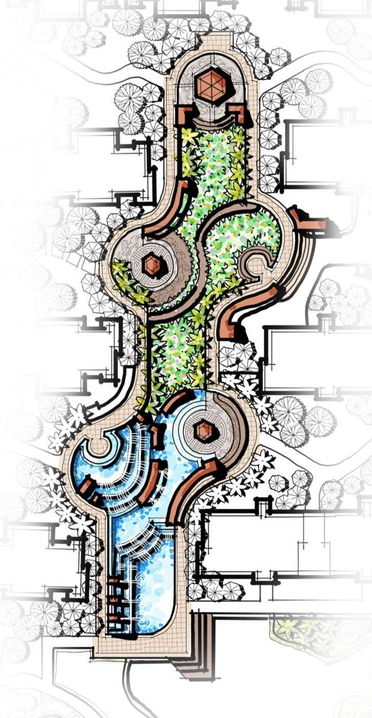 Landscape Fountain Sketch cascading water feature central landscape pavilion