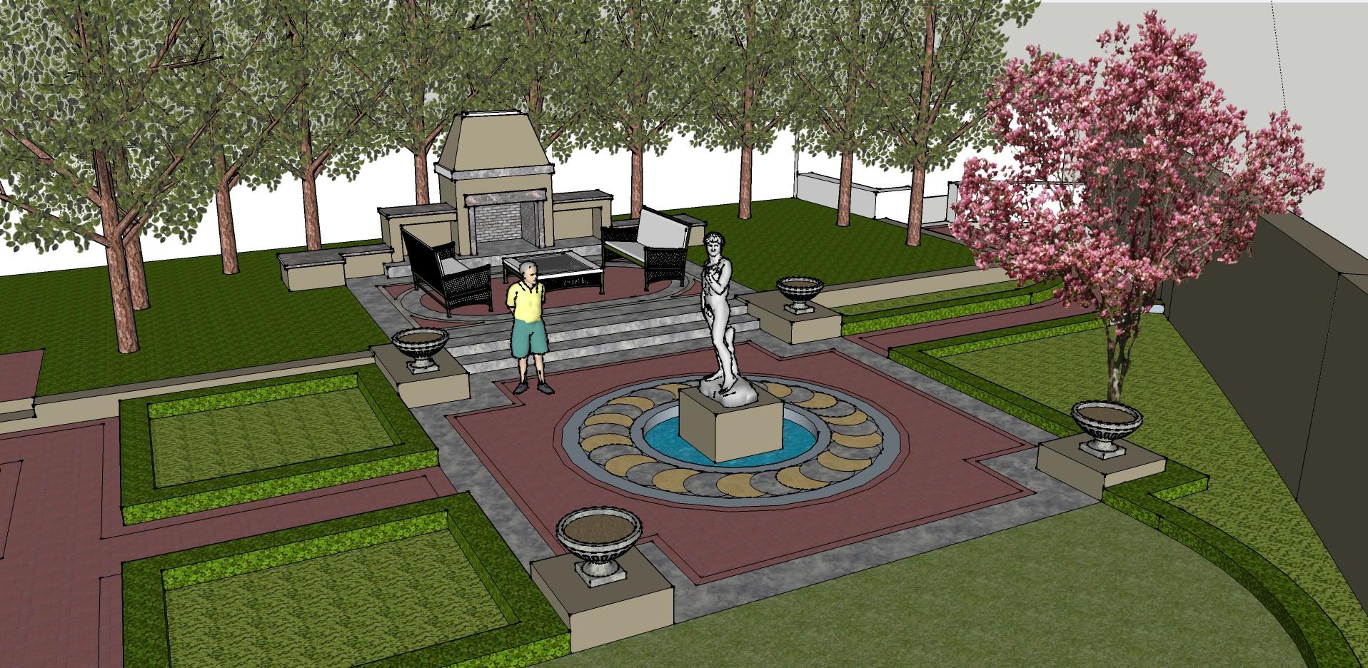 Landscape Fountain Sketch Sketchup models